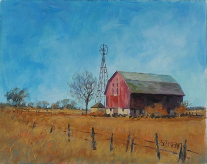 Original oil paintings by artist suzanne poursine massion for Watercolor barn paintings